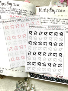 Handdrawn Stars - Pink and Lt Gray or Black and Gray Mini Sticker Sheet