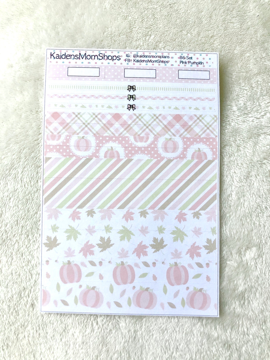 Pink Pumpkin B6 Planner Washi Set