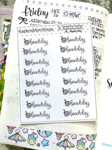 Beach Day Mini Sticker Sheet - Handlettered