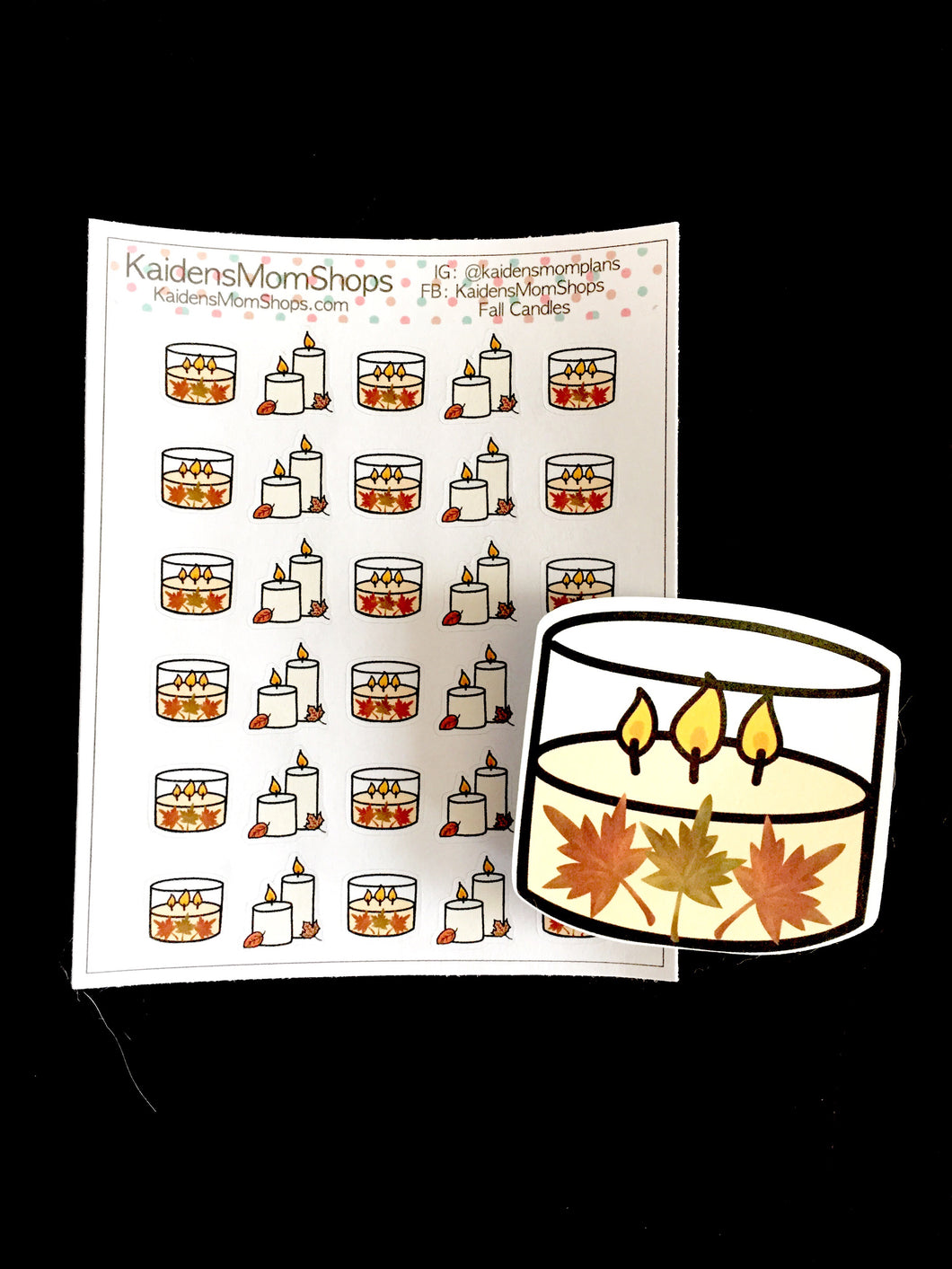 Fall Candles Mini Sticker Sheet and or Die Cut