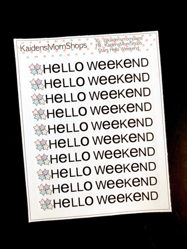 Stars Hello Weekend Banner Mini Sheet