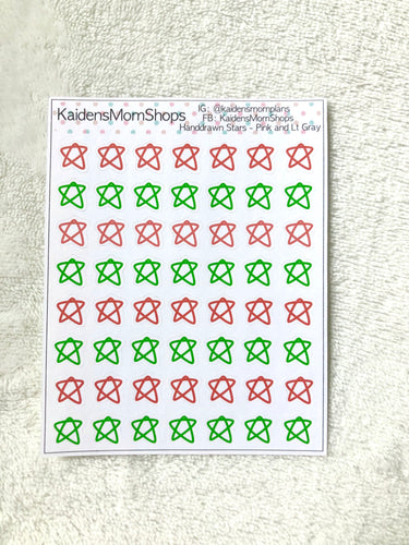 Handdrawn Stars - Red and Green Christmas Mini Sticker Sheet