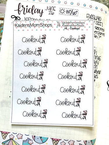 Cookout Mini Sticker Sheet - Handlettered