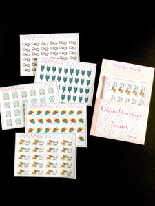 Teenies Set 14 - Summer Collection - 5 Teenie Sticker Sheets and a Pocket