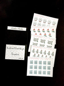 Teenies Set 10 - Winter Collection - 5 Teenie Sticker Sheets and a pocket