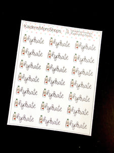 Hydrate Mini Sticker Sheet - Handlettered