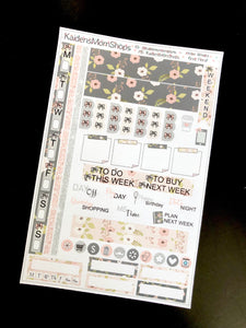 Hobonichi Weeks Sticker Kit - Gray Floral