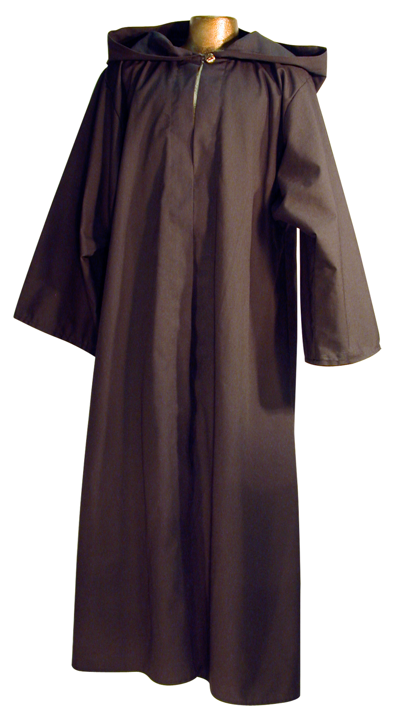 Traveler's Robe by White Pavilion, front view. This is ideal for medieval costumes, renaissance costumes, Steampunk costumes, Victorian costumes , Goth costumes, vampire costumes and general fantasy costume, especially for Nazgul or Ringwraith characters.