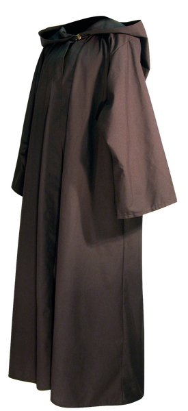 Traveler's Robe by White Pavilion, side view. This is ideal for medieval costumes, renaissance costumes, Steampunk costumes, Victorian costumes , Goth costumes, vampire costumes and general fantasy costume, especially for Nazgul or Ringwraith characters.