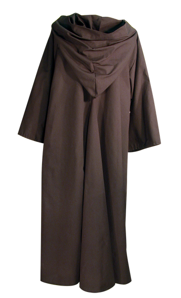 Traveler's Robe by White Pavilion, back view. This is ideal for medieval costumes, renaissance costumes, Steampunk costumes, Victorian costumes , Goth costumes, vampire costumes and general fantasy costume, especially for Nazgul or Ringwraith characters.