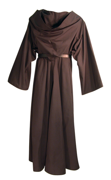 Traveler's Robe by White Pavilion, back view, with Sword Belt. This is ideal for medieval, renaissance, Steampunk, Victorian, Goth, vampire and general fantasy costume, especially for Nazgul or Ringwraith characters.