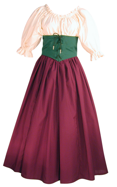 Damsel Bodice by White Pavilion Costumes, front view. This underbust bodice laces front and back and is perfect for medieval, renaissance, fantasy, fairytale, Steampunk, Goth, vampire, and other costumes.