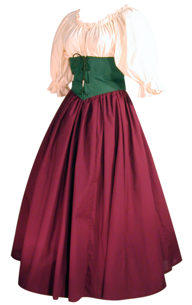 Damsel Bodice by White Pavilion Costumes, side view. This underbust bodice laces front and back and is perfect for medieval, renaissance, fantasy, fairytale, Steampunk, Goth, vampire, and other costumes.