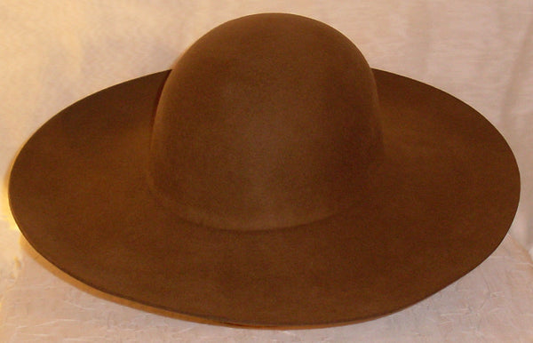 Cavalier Hat Blank from White Pavilion, top view, brown. Choose this hat for living history, medieval, renaissance, pirate, cowboy, steampunk, vampire and many other costumes.