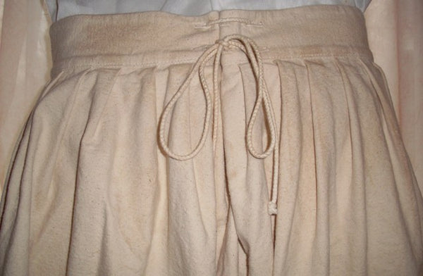 Pirate pants (slops) by White Pavilion Costumes, back closeup view. These pants are ideal for pirate costumes, reenactors, and 18th century sailors.