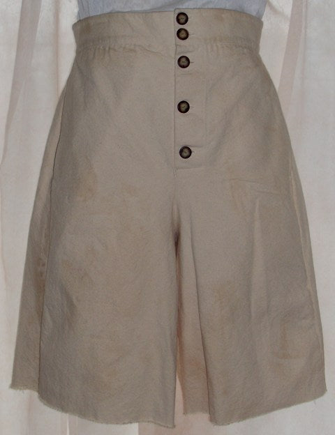Pirate pants (slops) by White Pavilion Costumes, front view. These pants are ideal for pirate costumes, reenactors, and 18th century sailors.