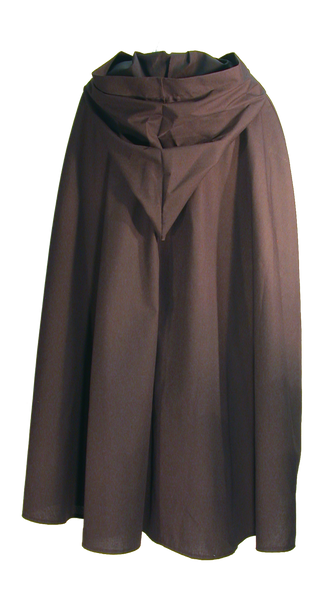 Children's Wanderer Cape from White Pavilion Costumes, back view. Ideal for medieval costumes, renaissance costumes, fantasy costumes, fairytale costumes, pirate costumes, Robin Hood costumes, hobbit costumes and Halloween costumes.