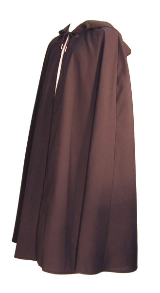 Wanderer Cape from White Pavilion Costumes, side view. Ideal for medieval costumes, renaissance costumes, fantasy costumes, fairytale costumes, pirate costumes, Robin Hood costumes, hobbit costumes and Halloween costumes.