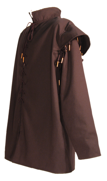 Men's Huntsman Doublet by White Pavilion, side view. Our doublet is perfect for medieval and renaissance costumes.