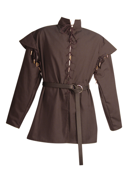 Men's Huntsman Doublet by White Pavilion, front view, w/ Swordsman Belt. Our doublet is perfect for medieval and renaissance costumes.