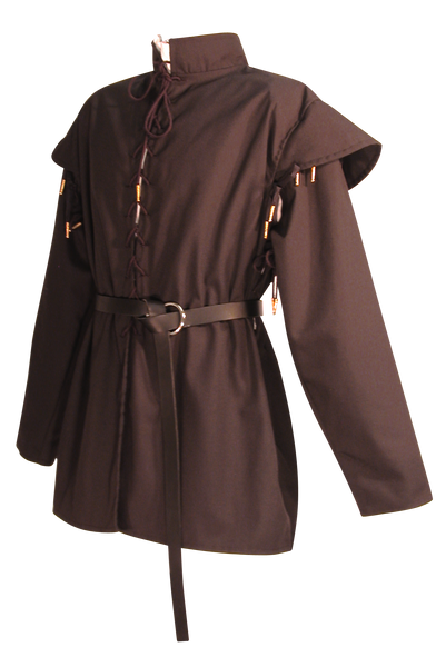 Men's Huntsman Doublet by White Pavilion, side view, with Swordsman Belt. Our doublet is perfect for medieval and renaissance costumes.