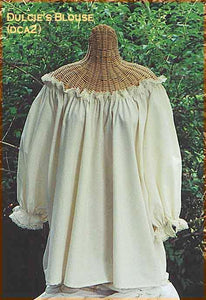 Muslin blouse with lace by White Pavilion Costumes, front view. This blouse is ideal for medieval, renaissance, pirate, 17th and 18th century, Victorian, fantasy, fairytale and Steampunk costumes.