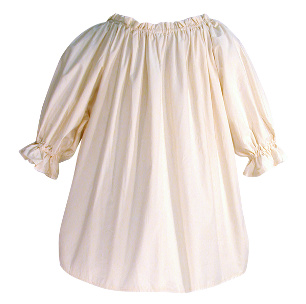 Muslin blouse by White Pavilion Costumes, back view. This blouse is ideal for medieval, renaissance, pirate, 17th and 18th century, Victorian, fantasy, fairytale and Steampunk costumes.