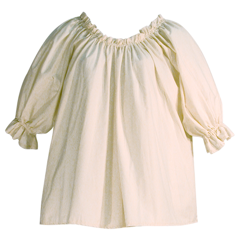 Muslin blouse by White Pavilion Costumes, front view. This blouse is ideal for medieval, renaissance, pirate, 17th and 18th century, Victorian, fantasy, fairytale and Steampunk costumes.