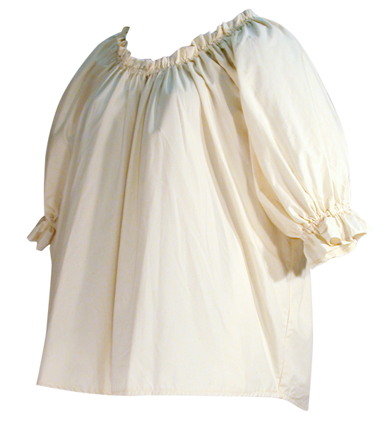 Muslin blouse by White Pavilion Costumes, side view. This blouse is ideal for medieval, renaissance, pirate, 17th and 18th century, Victorian, fantasy, fairytale and Steampunk costumes.