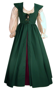 Elizabethan Gown by White Pavilion Costumes, front view. This gown is ideal for renaissance and medieval costumes, and can also be adapted for 18th century and Victorian styles, including Steampunk, Goth, and vampire costumes; and it's also useful for fantasy and fairytale costumes.