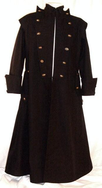 Goth Coat by White Pavilion, front view. This is perfect for Gothic costume, Steampunk costume, vampire costume, fantasy and sci-fi costume.