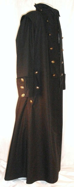 Goth Coat by White Pavilion, side view. This is perfect for Goth costume, Steampunk costume, vampire costume, fantasy and sci-fi costume.