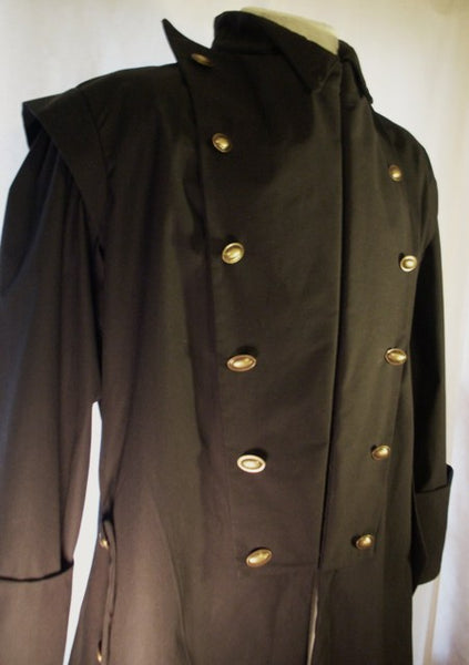Goth Coat by White Pavilion, front view, closeup. This is perfect for Goth costume, Steampunk costume, vampire costume, fantasy and sci-fi costume.
