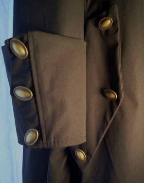 Goth Coat by White Pavilion, sleeve and pocket closeup. This is perfect for Goth costume, Steampunk costume, vampire costume, fantasy and sci-fi costume.