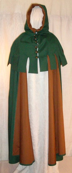Medieval Hood w/ Medieval Cape by White Pavilion, front view. This is a perfect hood for medieval, fantasy and elf costumes, and storybook heroes such as Robin Hood and Aragorn from Lord of the Rings.
