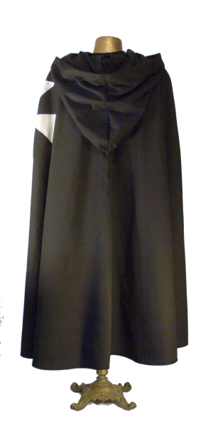Hospitaler Cape by White Pavilion, back view. This is the ideal companion to our Hospitaler Tunic and essential for any Hospitaler Knight costume.