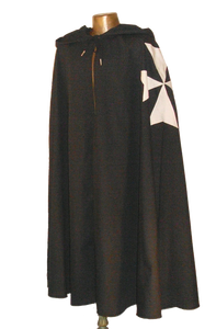 Hospitaler Cape by White Pavilion, front view. This is the ideal companion to our Hospitaler Tunic and essential for any Hospitaler Knight costume.