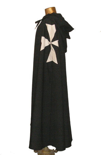 Hospitaler Cape by White Pavilion, side view. This is the ideal companion to our Hospitaler Tunic and essential for any Hospitaler Knight costume.