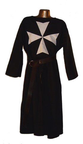 Medieval Hospitaler Knight Tunic by White Pavilion, front view. This is the ideal companion to our Medieval Hospitaler Knight Cape and essential for any Medieval Hospitaler Knight costume.