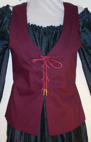 Hourglass Bodice by White Pavilion Costumes, front view. This lace-up vest is perfect for medieval and renaissance costumes, as well as 18th-century living history reenactors. It's also useful for fantasy and fairytale looks as well as Steampunk, Goth and vampire styles.