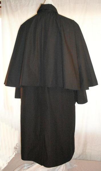 Inverness Coat by White Pavilion, back view. This coat is ideal for Victorian, Steampunk, Goth and vampire costumes.