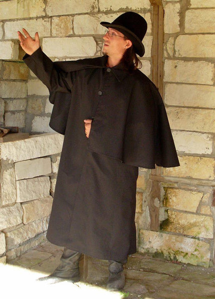 Inverness Coat by White Pavilion, side-front view. This coat is ideal for Victorian, Steampunk, Goth and vampire costumes.