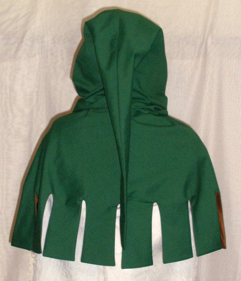 Medieval Hood by White Pavilion, back view. This is the perfect hood for medieval, fantasy and elf costumes, and storybook heroes such as Robin Hood and Aragorn from Lord of the Rings.