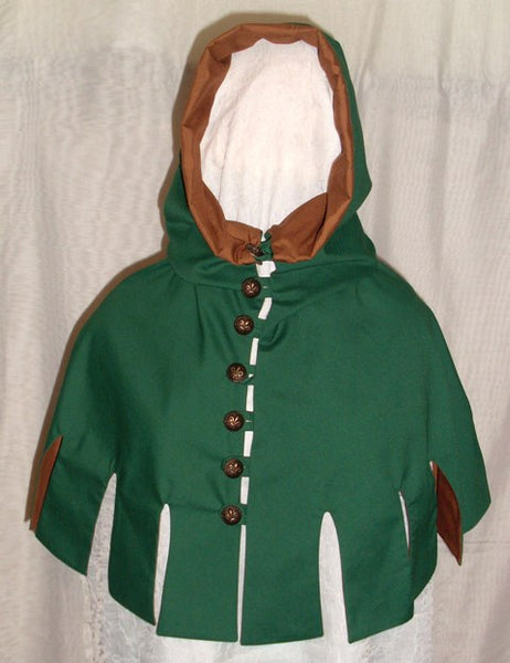 Medieval Hood by White Pavilion, front view. This is the perfect hood for medieval, fantasy and elf costumes, and storybook heroes such as Robin Hood and Aragorn from Lord of the Rings.