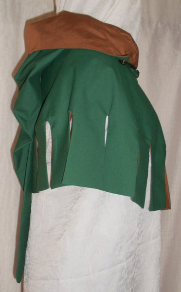 Medieval Hood by White Pavilion, side view, hood thrown back. This is the perfect hood for medieval, fantasy and elf costumes, and storybook heroes such as Robin Hood and Aragorn from Lord of the Rings.