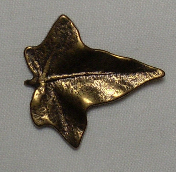 Leaf button, metal, with shank, bronze-tone