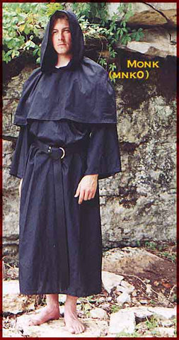 Monk's Robe by White Pavilion, front view. This robe is a traditionally styled monk's habit, and ideal for medieval costume or renaissance costume.