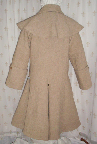 Greatcoat with mantle, linen/rayon blend, re-enactor pirate style, horn buttons, two pockets: back view