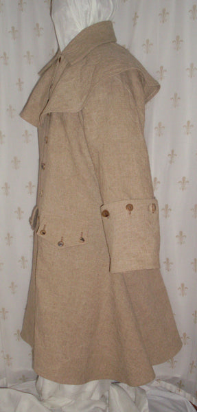 Greatcoat with mantle, linen/rayon blend, re-enactor pirate style, horn buttons, two pockets: side view