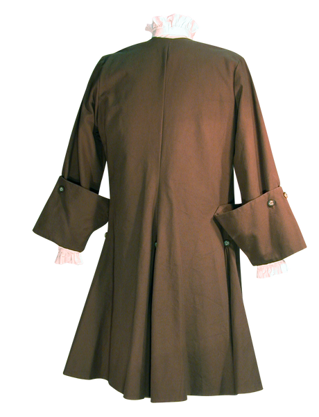 Pirate Coat by White Pavilion, back view. This coat is ideal for pirate costumes, colonial costumes, French and Indian War or Revolutionary War costumes.